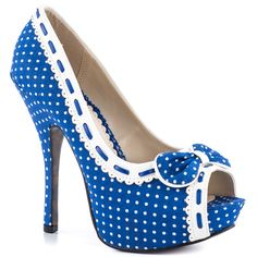 shoes, platform, polka dots, bettie page, blue white, bows, heels, beauty, blues