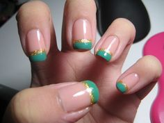 Green and gold french manicure, love