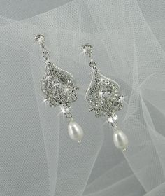 Bridal Chandelier Earrings Vintage style by CrystalAvenues on Etsy, $52.00