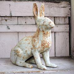 Cast Iron Vintage Painted Vintage Bunny Rabbit Doorstop.
