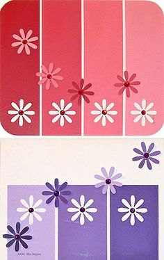 Paint chip flowers for cards