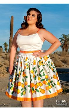 Pinup Couture- Jenny Dress in Orange Border Print - Plus Size | Pinup Girl Clothing I HAVE TO HAVE IT!!!