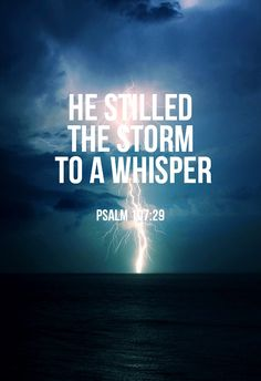 """""""He calms the storm, So that its waves are still."""" -Psalm 107:29"""