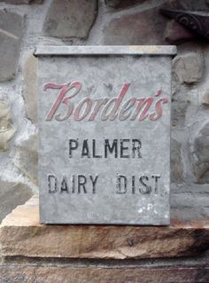 Vintage Advertising Borden Milk Box  $50. @Nickie M. M.. Love the font together.