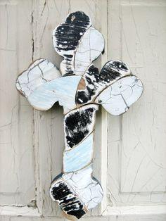 Mosaic Wall Cross Reclaimed Wood Art Black White Blue by woodenaht, $32.00