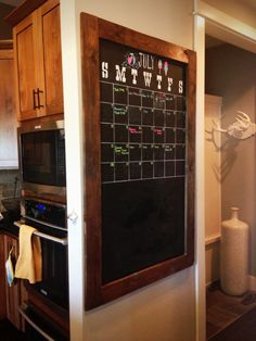 This is a DIY project that doesn't look too difficult. Would something like this be helpful for your family to track school events, your travel, etc? I think it would look good on the long wall in the kitchen opposite the cabinets.