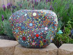 Mosaic Garden Rock by Sandra Brow