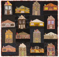 """Asphalt Neighborhood"", 48"" x 50"", by Mary-Claire van Leunen, 2013–2014.  made with fat and skinny house blocks. Machine pieced, hand quilted.  Posted at Devious Quiltmaking"