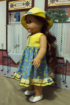 American girl Summer dress & hat also fits other 18 by craftymagaw
