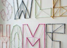 DIY: nail and yarn wall art