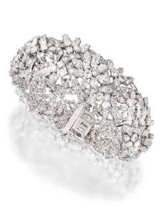 Platinum and Diamond Bracelet, David Webb - Sotheby's | More bling here: http://mylusciouslife.com/photo-galleries/bling-fling/