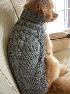 Dog Sweater - Basket Weave Button Down - Silver Grey - Hand Knit - Medium