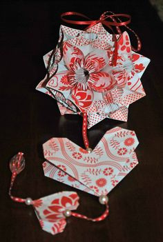 This origami kusudama is made from 60 individual folded flower petals.  Happy Valentines Day!