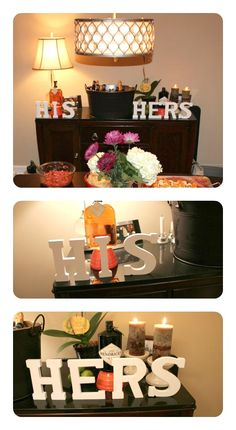 His & Hers Drink Bar for a couples shower featuring bride and grooms favorite beverage <3