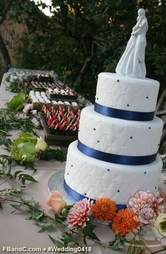 "Design W 0418 | 10""+8""+6"" Fondant Covered Wedding Cake & Dessert Bar  | Custom Quote"