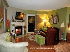 Andrea Guerriero - DRE DESIGNS www.dredesigns.ca www.facebook.com/dredesigns.ca  Condo Living Room - Benjamin Moore colours 2145-30 Brookside Moss & CC-490 Stone Hearth (In the US it's 984 Stone Hearth)