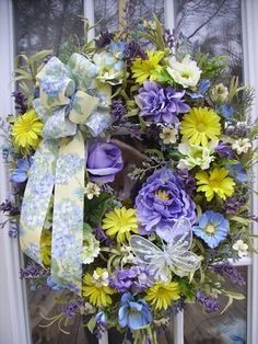 LAVENDER BLUE SPRING DOOR/WALL WREATH ~ THE PETAL SHOP ~ MOTHER'S DAY, EVERYDAY