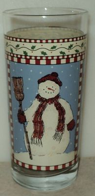 Anchor Hocking 1998 Debbie Mumm Tall Tumbler Christmas Blue Snowman Glass  ~ This Item is for sale at LB General Store http://stores.ebay.com/LB-General-Store ~Free Domestic Shipping ~