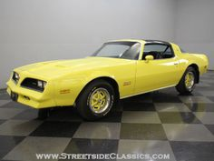"1978 Firebird Formula in ""sundance yellow"". Not quite the pavement burner that the Trans-Am was, but also a step up from the base and Espirit models, the Formula carried a 350 v-8 under the hood and included sportier ad ons such as a ducktail spoiler, t-tops and color-matched rallye wheels."