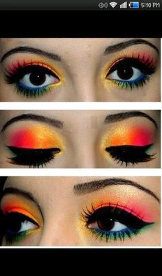 Colorful Eye Look. Love the lids.. Not so much under the eyes tho