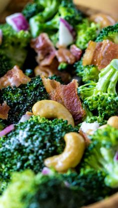 Broccoli Cashew Salad Recipe ~ A delicious broccoli salad combined with yummy flavors and textures and cashews!