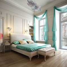 Apartment Bedroom Decorating Ideas...love the huge windows and the color pop!