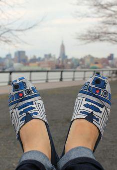 Custom TOMS - R2D2 aka R2DShoe - Hand Painted & Star Wars Inspired. $125.00, via Etsy.