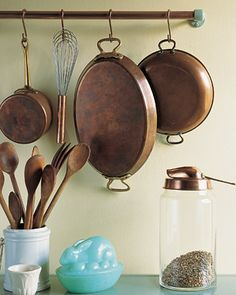 Create your own custom kitchen rack for hanging pots and pans.