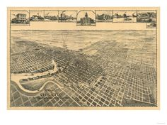 Map of Stockton, California from the late 1800's - Manufacturing City of CA