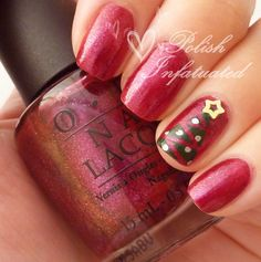 Simple graphic Christmas tree - base shade used here is OPI The Show Must Go On from the 2010 Burlesque collection.