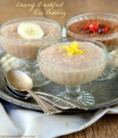 5-minute Creamy Breakfast Rice Pudding made from leftover brown rice! Use unsweetened rice milk, and sweeten with stevia or xylitol. Serves 2 (each with 1 cup of fruit).