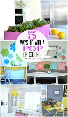 5 Ways to Add a Pop of Color to Your Home!! -- Tatertots and Jello #hintofcolor #SparkleTowels (ad)