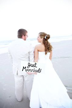 Large Just Married Sign - photo prop - wedding signs - wedding photography prop - wedding props. $34.95, via Etsy.