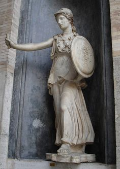 In Greek religion and mythology, Athena, daugther of Zeus, is the goddess of wisdom, courage, inspiration, civilization, law and justice, just warfare, mathematics, strength, strategy, the arts, crafts, and skill. Athena is also a shrewd companion of heroes and is the goddess of heroic endeavour. She is the virgin patroness of Athens.
