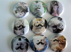 Set of Nine Button Magnet Cats with Mustaches 2 by Getagripmagnets, $12.95