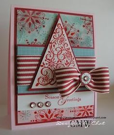 christma card, christmas cards, stamp, card idea, snow swirl, color combos, red christmas, christmas trees, snowi glaze