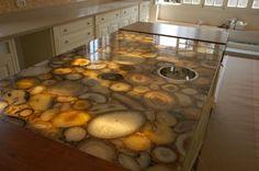 Illuminated stone counter top