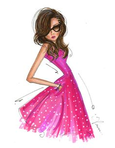 Fashion Illustration Print, Pink Dress by anum