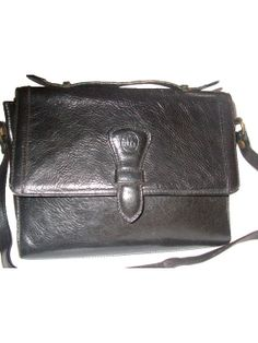 90s satchel bag LEATHER black crossbody by lesclodettes on Etsy, $65.00