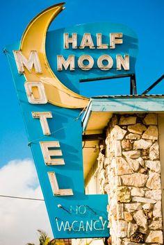 motel sign, culver citi, vintage signage, neon signs, alphabet letters, vintage signs, moon motel, half moon, vintag sign
