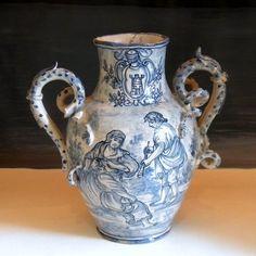 Antique 18 19 C Italian Albarello Blue and White Pottery Majolica Faience   eBay