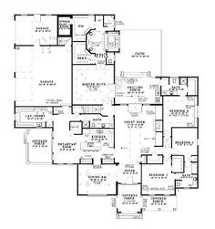 First Floor Plan of Craftsman   European   House Plan 62070