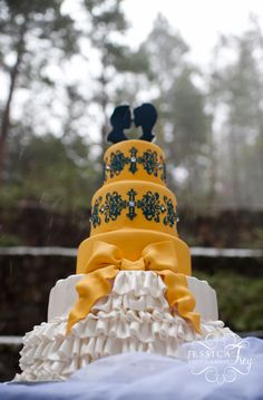 """""""Beauty and the Beast"""" inspired cake topper for Jessica Frey's Fairytale Photo Shoot series!  www.matinaedesignstudio.com"""