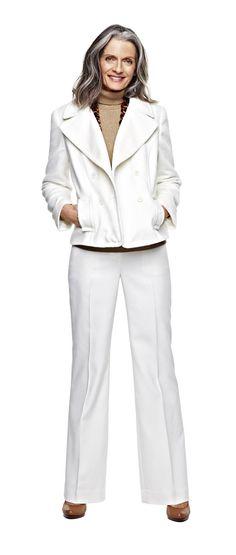 liz claiborne turtleneck, pants, and plush jacket