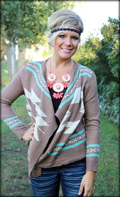 brown and turquoise aztec sweater
