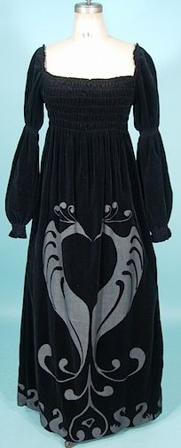 c. late 1960s/early 1970s Black Velveteen Lovebirds Gown. I had two very similar dresses.