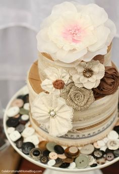 Cake inspiration - Adorable faux cake with burlap and bridal fabric flower accents.