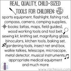 Real, quality, child-sized tools for children: resources that naturally lead to real and meaningful learning experiences | Racheous - Lovable Learning