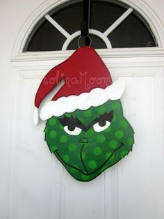 Grinch Wreath Grinch Door Hanger The Grinch by CarolinaMoonCrafts