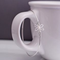 Sterling Silver Daisy Bangle Bracelet by georgiedesigns